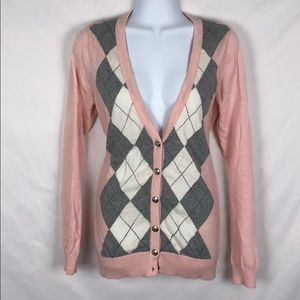 Forever21 Argyle Pink and Grey Cardigan